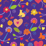 Funny seamless floral pattern with cat Stock Images