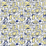Funny seamless pattern. A funny doodles seamless pattern Royalty Free Stock Photography