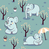 Funny seamless pattern. With playful elephants royalty free illustration