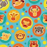 Funny seamless pattern with cartoon animal heads Stock Photography