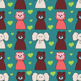 Funny seamless pattern with cartoon animal heads Royalty Free Stock Photo