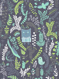 Funny Seamless pattern. Cartoon birds, leaves, flowers Royalty Free Stock Photography