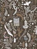 Funny Seamless pattern. Cartoon birds, leaves, flowers Stock Photo