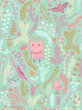 Funny Seamless pattern. Cartoon birds, leaves, flowers Stock Photography
