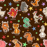 Funny Seamless Pattern of Chinese Zodiac Animals Signs. Stock Image