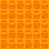 Funny seamless pattern with a colorful citrus jam jars. Stock Photos