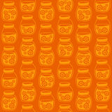 Funny seamless pattern with a colorful citrus jam jars. Stock Photo
