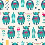 Seamless pattern with stylish raccoons. Funny seamless pattern with cute abstract raccoon and flowers. Vector illustration Royalty Free Stock Image