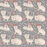 Funny seamless pattern with cute cats vector illustration