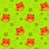 Funny seamless pattern with cute fox faces Royalty Free Stock Image