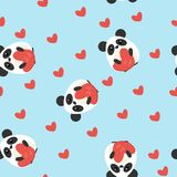 Funny seamless pattern with cute pandas and heart shapes. Flat design illustration Royalty Free Stock Photography