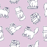 Funny seamless pattern with grumpy and melancholic cat playing with carton box on pink background. Cute hand drawn Royalty Free Stock Photos