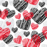 Funny seamless pattern with hearts Vector Royalty Free Stock Photography