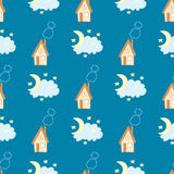 Funny seamless pattern with house, sky and moon on a blue background. Goodnight. Funny seamless pattern with house, sky and moon on a blue background Royalty Free Stock Photo
