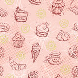 Funny seamless pattern with  ice cream coffee cake croissant. Vector Stock Photography