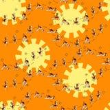 Funny seamless pattern with isolated cartoon dog doing yoga position of Surya Namaskara Royalty Free Stock Photos