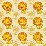 Funny seamless  pattern with lions. Royalty Free Stock Photos