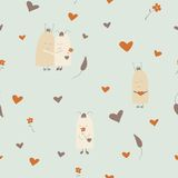 Funny seamless pattern of monsters in love. Funny seamless pattern of cute monsters in love royalty free illustration