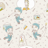 Funny seamless pattern with portraits of the artist. Stock Images