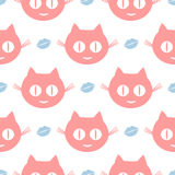 Funny seamless pattern. Repeated smiling cat`s heads and human lips. Pink, white, blue color. Vector illustration royalty free illustration
