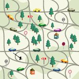 Funny seamless pattern Road with  cars, signs, trees, houses. Stock Photography