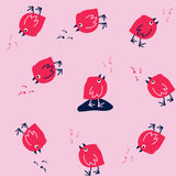Funny Seamless Pattern with Singing Birds on a Pink Background. Royalty Free Stock Images