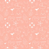 Funny seamless pattern with sketch summer elements Stock Image