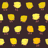 Funny Seamless Pattern with Small chickens Royalty Free Stock Photography
