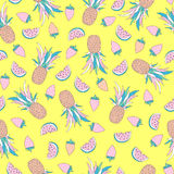 Funny seamless pattern with tropical fruits vector illustration