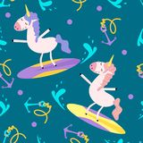 Seamless pattern with a unicorn on a surfboard - vector illustration, eps vector illustration