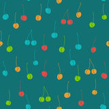 Funny Seamless Pattern with various colored Cherries Royalty Free Stock Images