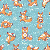 Funny Seamless Pattern With Cartoon Foxes Doing Yoga Position. Royalty Free Stock Photography