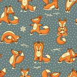 Funny Seamless Pattern With Cartoon Foxes Doing Yoga Position. Royalty Free Stock Photos