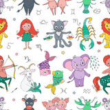 Funny seamless pattern with zodiac sign Stock Photos