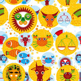 Funny seamless pattern with zodiac sign horoscope  Royalty Free Stock Image