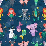 Funny seamless pattern with zodiac sign Royalty Free Stock Photos