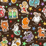 Funny Seamless Pattern of Zodiac Signs. Stock Photo