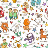 Funny Seamless Pattern of Zodiac Signs. Stock Photos