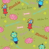 Funny seamless pattern with zombies and brain Royalty Free Stock Photo