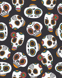 Funny seamless scull pattern for Halloween and day of the dead. Royalty Free Stock Photo