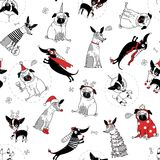 Funny seamless texture with dogs. In christmas costumes, vector illustration Stock Photography