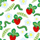 Funny seamless vector  pattern with strawberry, caterpillar and flowers and leaves. Royalty Free Stock Photos