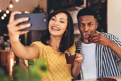 Funny selfie at cafe stock photography