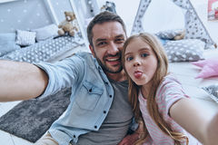 Funny selfie with dad. Royalty Free Stock Photography