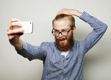 Funny selfie. Happy day. Stock Photography