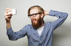 Funny selfie. Happy day. Stock Photos