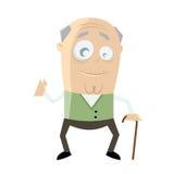 Funny senior cartoon man Stock Photos