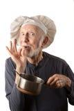 Funny senior chef stock image