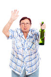 Funny senior drunk woman Stock Image