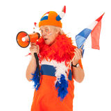 Funny senior Dutch soccer supporter Stock Image
